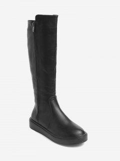 Side Zipper Faux Leather Mid Calf Boots - Black 36
