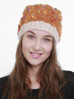 Outdoor Fuzzy Ball Slouchy Knited Hat - Deep Orange
