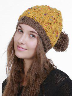 Outdoor Fuzzy Ball Slouchy Knited Hat - Earthy