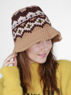 Geometric Pattern Crochet Knit Bucket Hat - Khaki