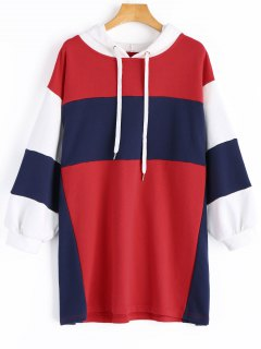 Oversized Color Block Hoodie - Red S