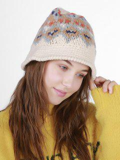 Geometric Pattern Crochet Knit Bucket Hat - Beige
