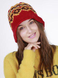 Geometric Pattern Crochet Knit Bucket Hat - Red