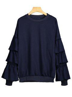 Tiered Sleeve Plain Sweatshirt - Purplish Blue S