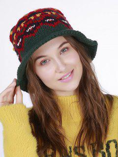 Geometric Pattern Crochet Knit Bucket Hat - Blackish Green