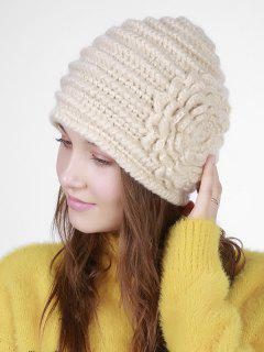 Floral Embroidery Pattern Stripe Knitting Hat - Beige