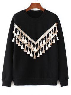 Fringed Embroidered Sweatshirt - Black M