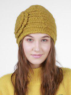 Floral Embroidery Pattern Stripe Knitting Hat - Earthy