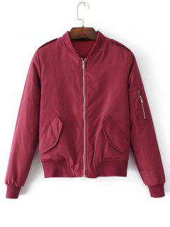 Padded Flap Pockets Zip Up Bomber Jacket - Wine Red S
