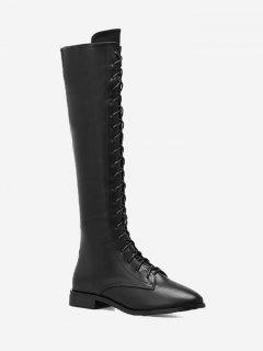 Faux Leather Lace Up Knee High Boots - Black 37
