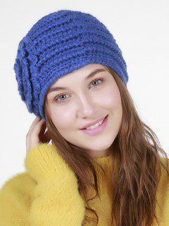 Floral Embroidery Pattern Stripe Knitting Hat - Blue
