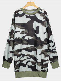 Crew Neck Camouflage Longline Sweatshirt - Camouflage Xl