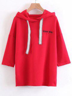 Casual Oversized Letter Embroidered Hoodie - Red S