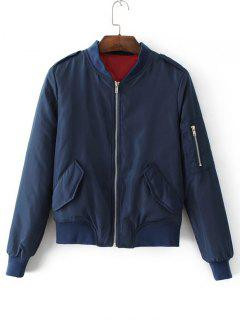 Padded Flap Pockets Zip Up Bomber Jacket - Purplish Blue S
