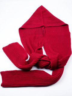 Outdoor Crochet Hooded Long Scarf - Deep Red