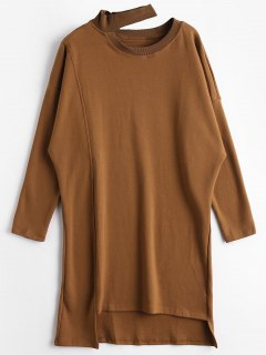 Drop Shoulder Asymmetric Longline Sweatshirt - Brown