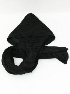 Outdoor Crochet Hooded Long Scarf - Black