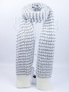 Outdoor Wavy Stripe Pattern Knitted Scarf - Gray