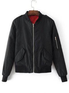 Padded Flap Pockets Zip Up Bomber Jacket - Black S
