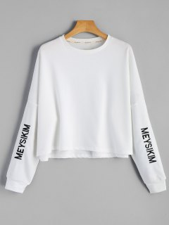 Oversized Meysikim Embroidered Sweatshirt - White M