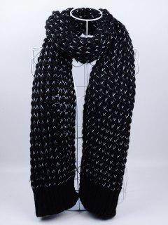 Outdoor Wavy Stripe Pattern Knitted Scarf - Black