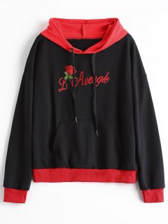 Front Pocket Floral Letter Patched Drawstring Hoodie - Black S
