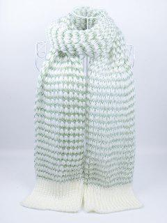 Outdoor Wavy Stripe Pattern Knitted Scarf - Green