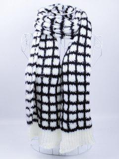 Outdoor Crochet Checked Pattern Scarf - Black White