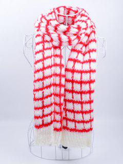 Outdoor Crochet Checked Pattern Scarf - Red With White
