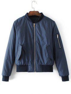 Flap Pockets Zip Up Polit Jacket - Purplish Blue S