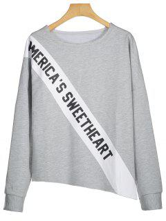 Letter Graphic Asymmetric Sweatshirt - Gray