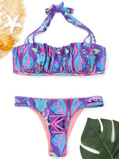 Patterned Ruched Leiter Cut Bikini - S