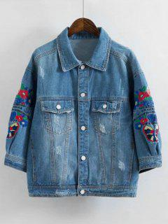 Button Up Ripped Embroidered Jean Jacket - Denim Blue