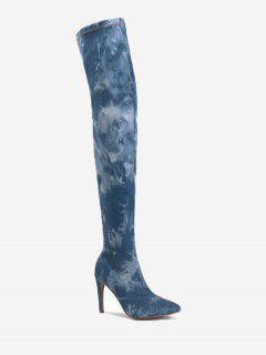 Pointed Toe Denim Stiletto Thigh High Boots - Light Blue 42