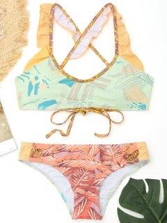 Rüschen Farbblock Gedruckter Bikini - L