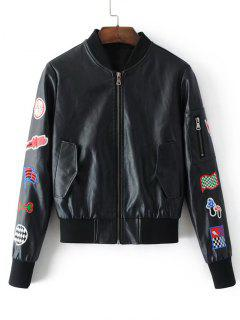 Patched Faux Leather Zip Up Baseball Jacket - Black S