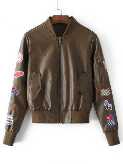 Patched Faux Leather Zip Up Baseball Jacket - Brown S