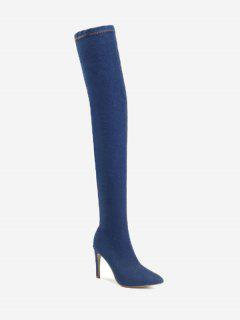 Stiletto Denim Over The Knee Boots - Deep Blue 42