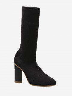 Ankle Chunky Heel Short Boots - Black 35