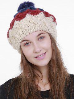 Outdoor Crochet Pom Knit Beanie - White And Red