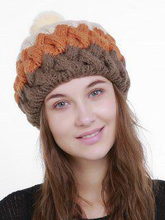 Outdoor Crochet Pom Knit Beanie - Coffee And Yellow