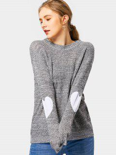 Heart Elbow Patch Pullover Sweater - Deep Gray L