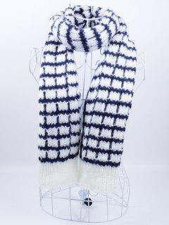 Outdoor Crochet Checked Pattern Scarf - Blue And White