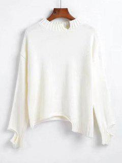 Cutout Asymmetrical Sweater - White