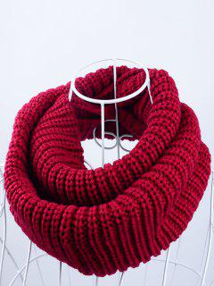 Outdoor Chunky Infinity Knitted Scarf - Dark Red