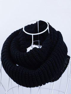 Outdoor Chunky Infinity Knitted Scarf - Black