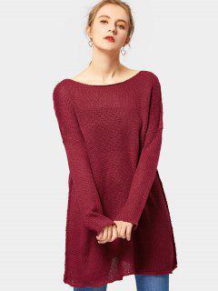 Suéter De Túnica Con Cuello Suelto - Vino Rojo Xl