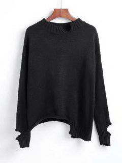 Cutout Asymmetrical Sweater - Black