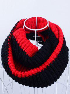 Slouchy Lightweight Knitted Infinity Scarf - Black Red