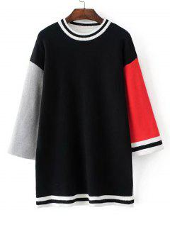 Sweat-shirt Long Color Block Rayé - Noir
